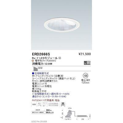 遠藤照明 LEDZ Rs series グレアレスウォールウォッシャーダウンライト ERD2666S
