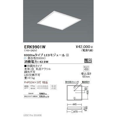 遠藤照明 LEDZ FLAT BASE series スクエアベースライト 下面乳白パネル形 ERK9901W
