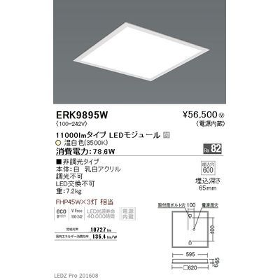 遠藤照明 LEDZ FLAT BASE series スクエアベースライト 下面乳白パネル形 ERK9895W