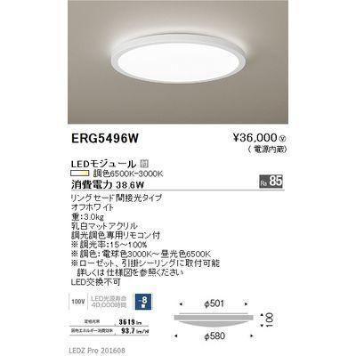 遠藤照明 LEDZ 調光調色シリーズ 調光調色シーリングライト ERG5496W