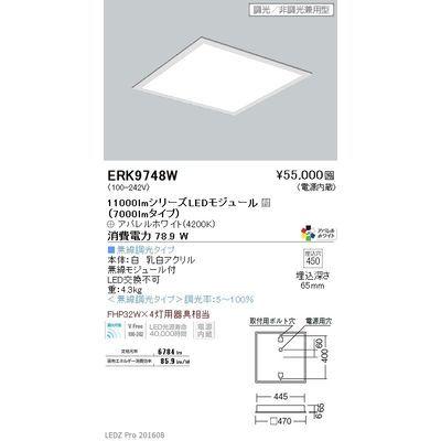 遠藤照明 LEDZ FLAT BASE series スクエアベースライト 下面乳白パネル形 ERK9748W
