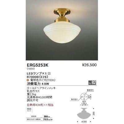 遠藤照明 シーリングライト〈LEDランプ付〉 ERG5253K