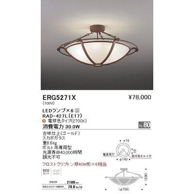 遠藤照明 シーリングライト〈LEDランプ付〉 ERG5271X
