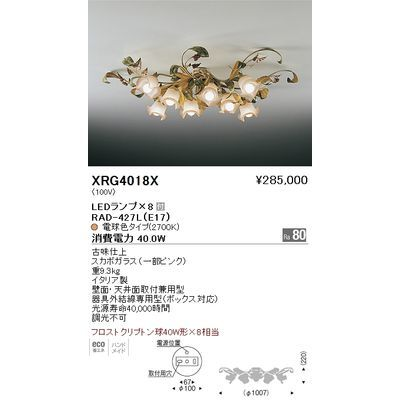遠藤照明 シャンデリアライト〈LEDランプ付〉 XRG4018X