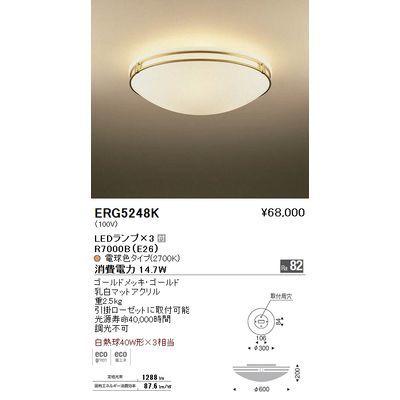 遠藤照明 シーリングライト〈LEDランプ付〉 ERG5248K