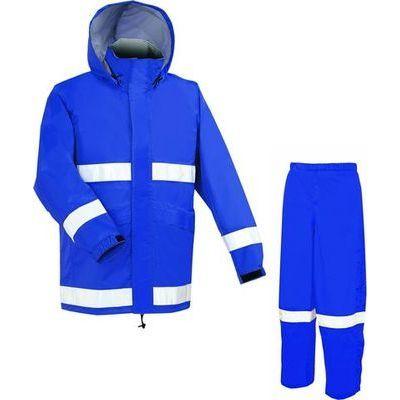 APT PRO (アプトプロ) アプトプロ ヘルメット 対応 レイン スーツ 上下 メッシュ裏付き 全3色 9サイズ ネイビー ブルー S 防水・透湿 2層レイヤー 収納袋付き EE-00242
