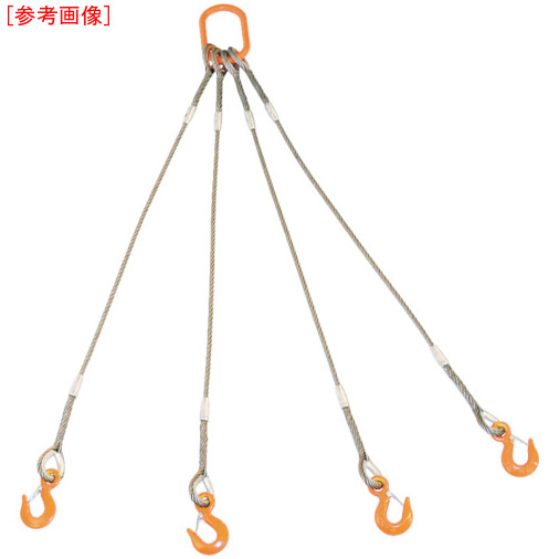 トラスコ中山 TRUSCO 4本吊りWスリング フック付き 9mmX1.5m GRE4P9S1.5