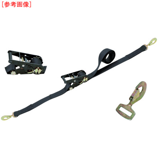 東レインターナショナル シライ ラチェットバックル 黒 スナップフックツイスト付 RK50LB6SHT500