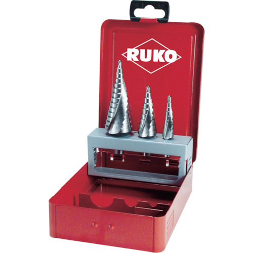 RUKO社 RUKO 2枚刃スパイラルステップドリルセット 3本組 コバルトハイス 101026E