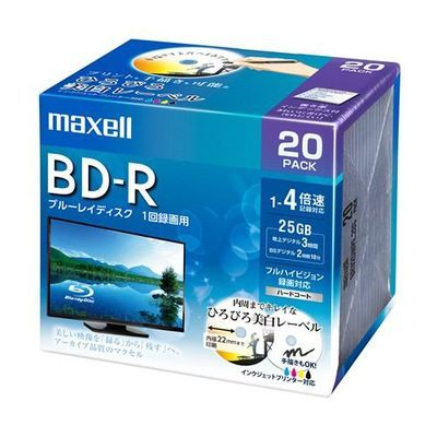 マクセル (Maxell) BRV25WPE20S 録画用BD-R 録画用BD-R ひろびろ美白レーベルディスク 1-4倍 25GB BRV25WPE20S 25GB 20枚 うす型5mmケース BRV25WPE.20S-R 4902580517854【納期目安:1週間】, UnDigital科学博物店:e1408502 --- kutter.pl