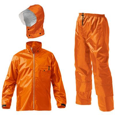Makku(マック) マック ワークス レイン スーツ 全2色 6サイズ レインスーツ 上下 オレンジ S 防水 2レイヤー 止水テープ DD-08441