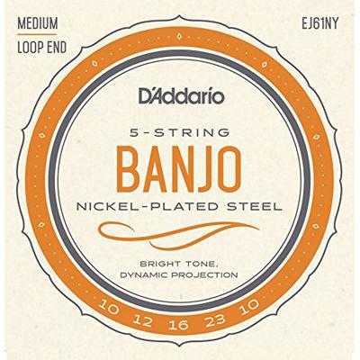DADDARIO 【10個セット】D'Addario ダダリオ バンジョー弦 NY Steel ニッケル Medium 5弦 .010-.023 EJ61NY 0019954982317