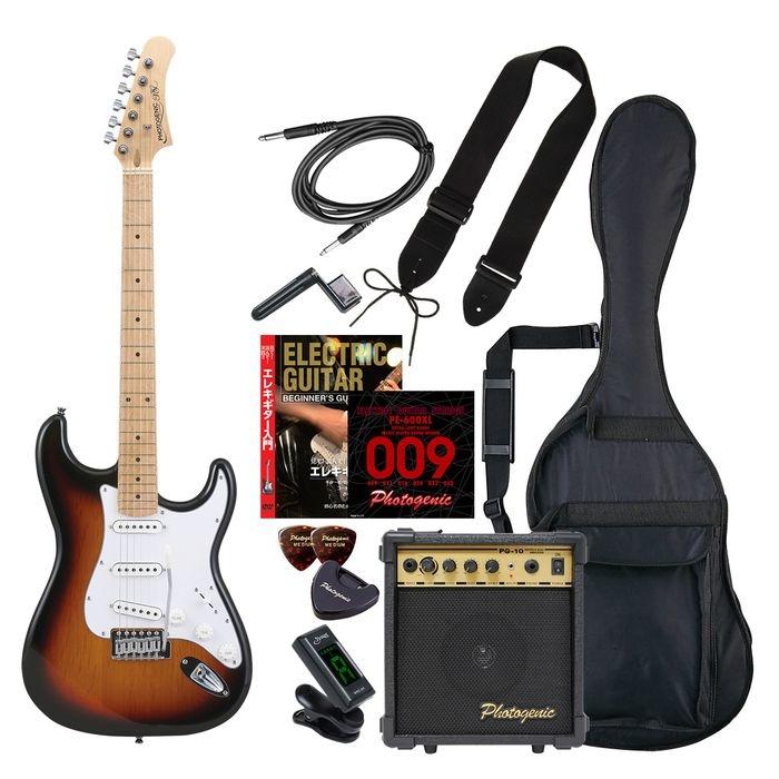 ENTRY PhotoGenic エレキギター 初心者入門エントリーセット ストラトキャスタータイプ ST-180M/SB サンバースト メイプル指板 4534853532143