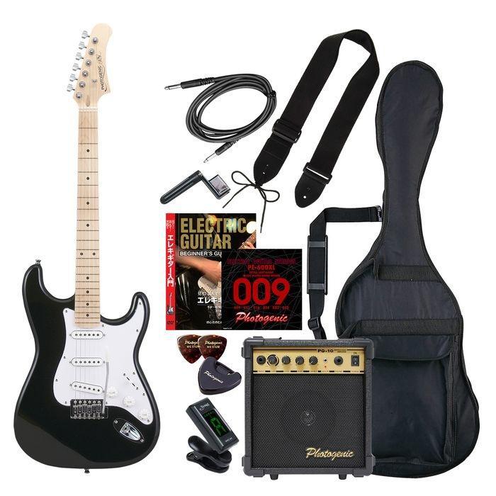 ENTRY PhotoGenic エレキギター 初心者入門エントリーセット ストラトキャスタータイプ ST-180M/BK ブラック メイプル指板 4534853532242