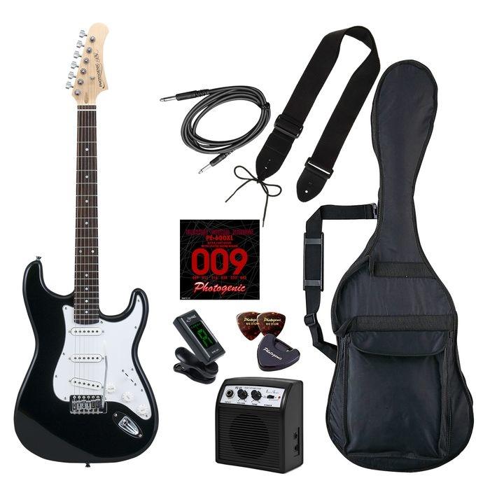 LIGHT PhotoGenic エレキギター 初心者入門ライトセット ストラトキャスタータイプ ST-180/BK ブラック ローズウッド指板 4534853541343