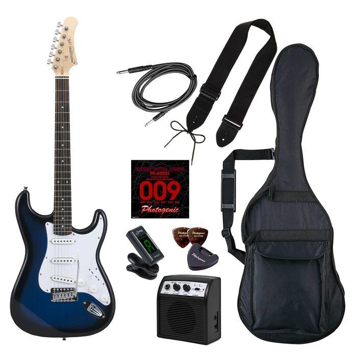LIGHT PhotoGenic エレキギター 初心者入門ライトセット ストラトキャスタータイプ ST-180/BLS ブルーサンバースト ローズウッド指板 4534853537049
