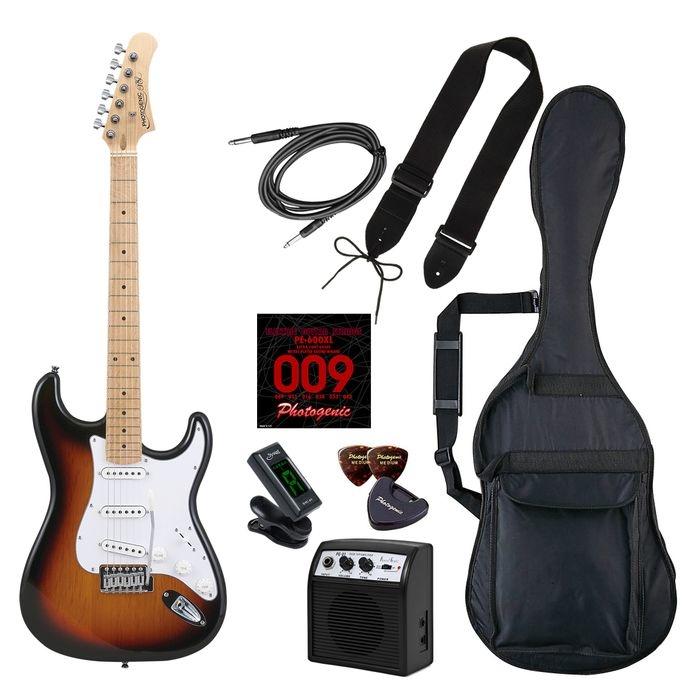LIGHT PhotoGenic エレキギター 初心者入門ライトセット ストラトキャスタータイプ ST-180M/SB サンバースト メイプル指板 4534853537247