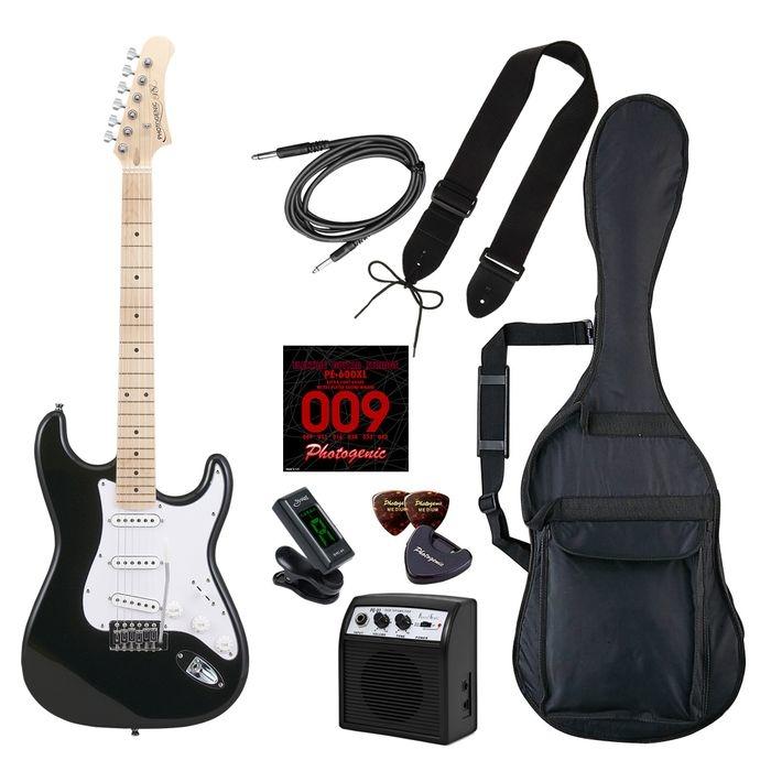 LIGHT PhotoGenic エレキギター 初心者入門ライトセット ストラトキャスタータイプ ST-180M/BK ブラック メイプル指板 4534853537346