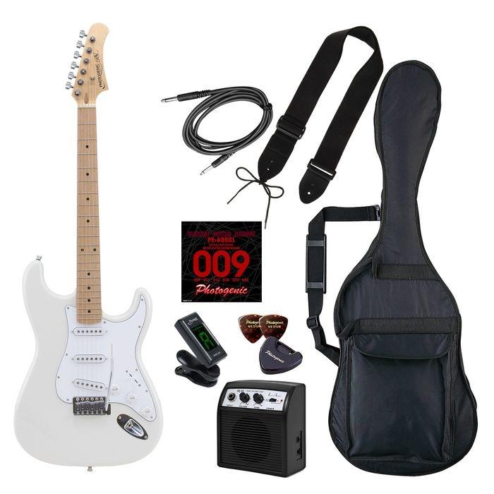 LIGHT PhotoGenic エレキギター 初心者入門ライトセット ストラトキャスタータイプ ST-180M/WH ホワイト メイプル指板 4534853537643