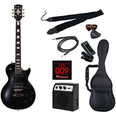 LIGHT PhotoGenic エレキギター 初心者入門ライトセット レスポールカスタムタイプ LP-300/BK ブラック 4534853538848