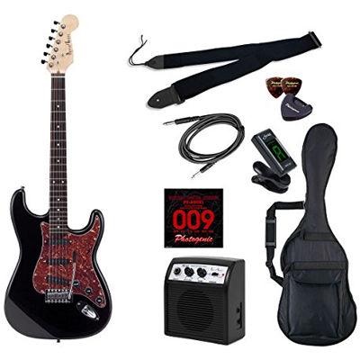 LIGHT PhotoGenic エレキギター 初心者入門ライトセット ストラトキャスタータイプ ST-200/BK/T3P ブラック べっ甲柄ピックガード仕様 4534853069816