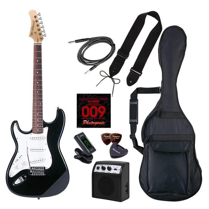 LIGHT PhotoGenic エレキギター 初心者入門ライトセット ストラトキャスタータイプ ST-250LH/BK ブラック レフトハンドモデル 4534853070010