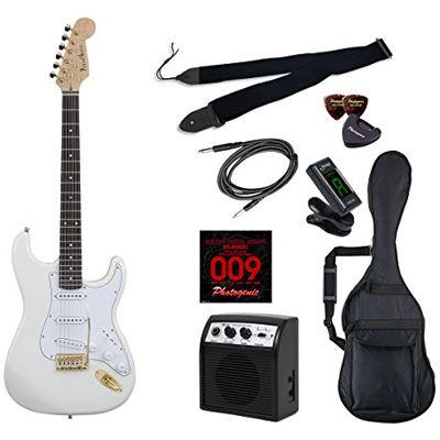 LIGHT PhotoGenic エレキギター 初心者入門ライトセット ストラトキャスタータイプ STG-200/WH ホワイト ゴールドパーツ仕様 4534853070218