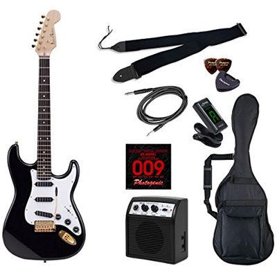 LIGHT PhotoGenic エレキギター 初心者入門ライトセット ストラトキャスタータイプ STG-200/BK ブラック ゴールドパーツ仕様 4534853070416