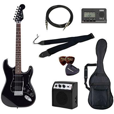 VALUE PhotoGenic エレキギター 初心者入門バリューセット ストラトキャスタータイプ STH-200/BK ブラック オールブラック仕様 4534853781756