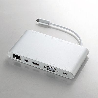 エレコム Type-Cドッキングステーション/PD対応/充電用Type-C1ポート/USB(3.0)3ポート/miniDisplayport1ポート/HDMI1ポート/D-sub1ポート/4極φ3.5端子/SD+microSDスロット/LANポート/シルバー DST-C01SV