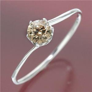 その他 K18ホワイトゴールド 0.3ctシャンパンカラーダイヤリング 指輪 9号 ds-447680