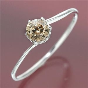 その他 K18ホワイトゴールド 0.3ctシャンパンカラーダイヤリング 指輪 19号 ds-447685