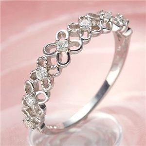 その他 K10WGダイヤリング 指輪 フラワーリング 17号 ds-499946【納期目安:3週間】