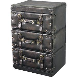 その他 アンティーク調チェスト/タンス 【Traver Furniture】 3段 木製(杉)/合成皮革 IW-873 ds-690801