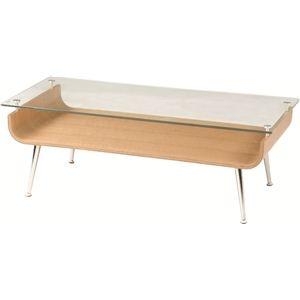 その他 ローテーブル/強化ガラステーブル 木製 棚収納付き NET-301NA ナチュラル ds-691137