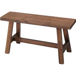 その他 ベンチ(ソーレ ワイドスツール) 木製 (カントリー雑貨&家具) LFS-492BR ブラウン ds-749211