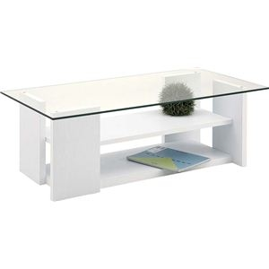その他 ローテーブル(強化ガラステーブル) 棚収納付き SO-100WH ホワイト(白) ds-749245