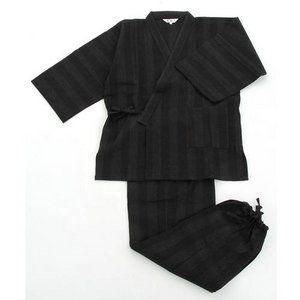 その他 纏(まとい)織作務衣 141-1905 黒 LLサイズ ds-849791