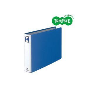 その他 (まとめ)TANOSEE 両開きパイプ式ファイル B4ヨコ 50mmとじ 青 30冊 ds-972214