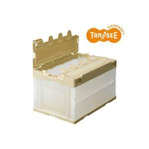 その他 (まとめ)TANOSEE 折りたたみコンテナ フタ付 40L アイボリー/透明 10台 ds-973887