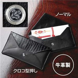その他 【日本製】家紋付 本革ふくさ クロコ型押し 8/丸に桔梗 ds-1072702