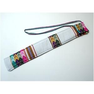 その他 【QUENA SOFT CASE WHITE】民族楽器ケーナ用の布ケース(アンデス織物アワイヨ)白★ペルー製 ds-1116552