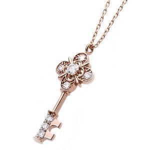 その他 【鑑別書付】K18ピンクゴールド 天然ダイヤネックレス ダイヤモンドペンダント/ネックレス0.11ct キーモチーフ ds-1122765