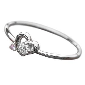 その他 【鑑別書付】プラチナPT950 天然ダイヤリング 指輪 ダイヤ0.05ct アイスブルーダイヤ0.01ct 8号 ハートモチーフ ds-1235733
