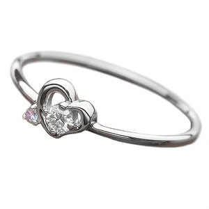 その他 【鑑別書付】プラチナPT950 天然ダイヤリング 指輪 ダイヤ0.05ct アイスブルーダイヤ0.01ct 11号 ハートモチーフ ds-1235740