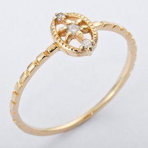 その他 K10イエローゴールド 天然ダイヤリング 指輪 ダイヤ0.04ct 8号 アンティーク調 ds-1238532