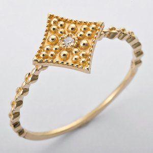 その他 K10イエローゴールド 天然ダイヤリング 指輪 ダイヤ0.01ct 11.5号 アンティーク調 スクエアモチーフ ds-1238696