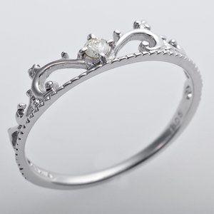 その他 K10ホワイトゴールド 天然ダイヤリング 指輪 ダイヤ0.05ct 9号 アンティーク調 プリンセス ティアラモチーフ ds-1241547
