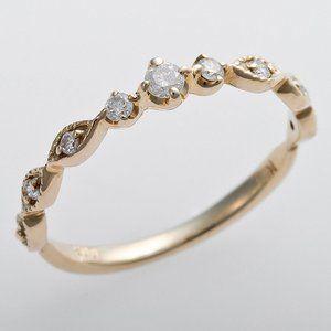 その他 K10イエローゴールド 天然ダイヤリング 指輪 ピンキーリング ダイヤモンドリング 0.09ct 4号 アンティーク調 プリンセス ds-1241622