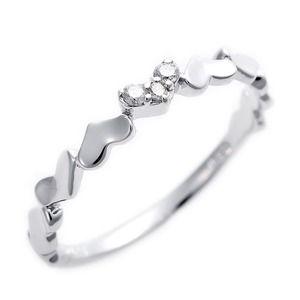 その他 ダイヤモンド ピンキーリング K10 ホワイトゴールド ダイヤ0.03ct ハートモチーフ 1号 指輪 ds-1244474